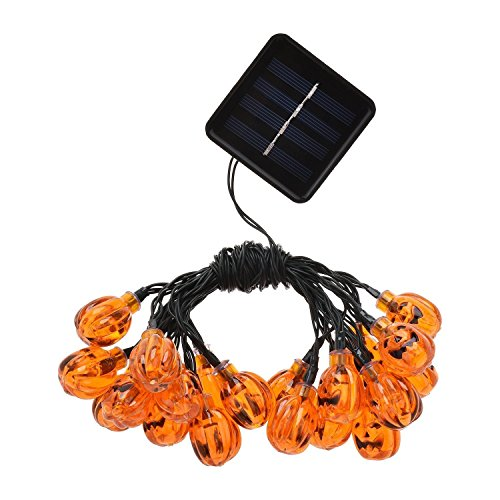 LED Solar String Lights, 16ft 20LEDS 8MODELS, OGG solar Powered 3D Jack-O-Lantern Pumpkin String Lights Halloween Decoration Lights, Warm white -