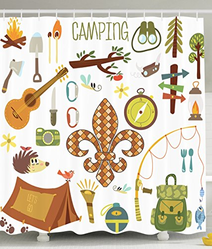 Fleur De Lis Decorations (Fleur de Lis Shower Curtain by Ambesonne, Camping Equipments Boy Scout Campfire Symbol Fishing Lure Fancy Decorations Lake House Decor Digital Print Fabric Brown Mustard Green White)