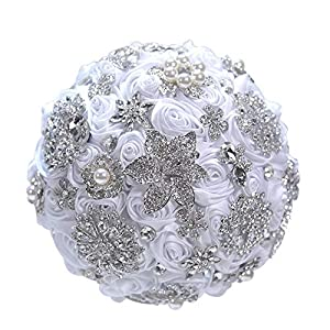 MOJUN Luxurious Bridal Bouquet Roses Flowers Crystal Pearl Brooches Wedding Bouquet Holder for Bride Bridal Bridesmaids, White
