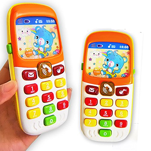 Phone Play Teaching (Cooplay Toy Cell Phone lighting Music Mobile Early Education Camera Play Learning Cellphone Change Screen for Baby Kids Children)