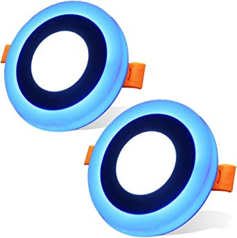 2 Pack)Led Foco Empotrable Techo,Maigel 3+3W White+Blue Downlight Lámpara de techo Marco Redondo,de techo de iluminación incluye bombilla LED para salón o dormitorio cocina etc: Amazon.es: Iluminación
