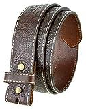 Western Floral Engraved Tooled Leather Belt Strap 1-1/2 (Brown,34)