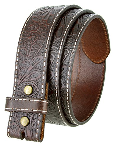 Western Floral Engraved Tooled Leather Belt Strap 1-1/2 (Brown,38)