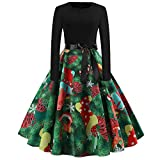 WOCACHI Final Clear Out Christmas Vintage Dresses Womens Long Sleeves Party Swing Dress Bowknot Sashes A Line Bodycon Vintage Xmas Evening Prom Costume Maxi Mini Knee Length (Green_c, Small)