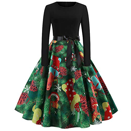 GREFER Women Long Sleeve Dress Vintage Pumpkins Halloween Christmas Evening Prom Costume Swing Dress (M, B-Green) -