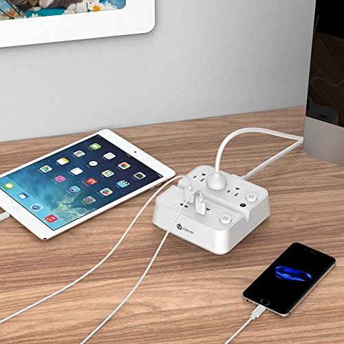 [Separate Switch Control] iClever BoostStrip IC-BS02 Smart Power Strip | USB Charger with 4 USB + 3 AC Outlets, Dual Switch Control Charging Station and Phone/Tablet Stand - White by iClever (Image #6)