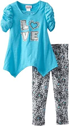 Little Lass Little Girls' 2 Piece Love Legging Set, Aqua, 3T