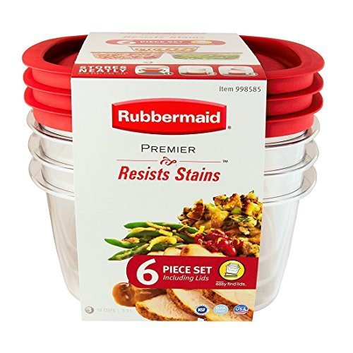 Rubbermaid Premier Food Storage Container, 14-cup Size, Clear. 6 Piece Set.