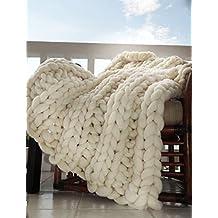 Chunky Merino Throw Blanket, Merino Hand Spun, Hand Knit, Super Soft