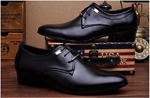Xmwealthy Mens Business Design Allacciato Scarpe Oxford Tuxedo Nere