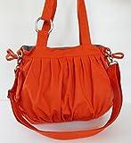 Virine canvas pleats bag, purse, tote, shoulder bag, everyday bag, travel bag, cross body, women (11''long x 11.5''tall) burnt orange color