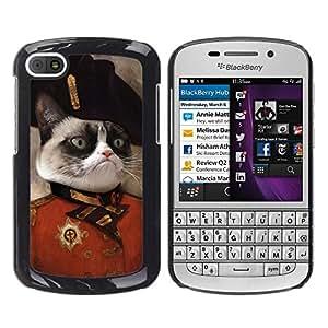 QCASE / BlackBerry Q10 / gato enojado cara siamés nariz rosada del arte en general / Delgado Negro Plástico caso cubierta Shell Armor Funda Case Cover