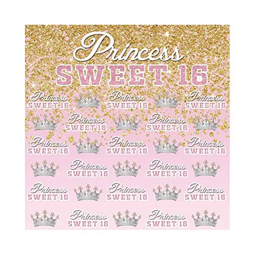 GoHeBe Princess Sweet 16 Theme Backdrop 7x7ft Silver Crown Vinyl Photography Background Light Pink Golden Glitter GOTS Girls Birthday Party Banner Poster Studio Photo Props Portraits Shoot -