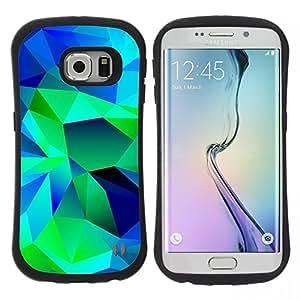 """Pulsar iFace Series Tpu silicona Carcasa Funda Case para Samsung Galaxy S6 EDGE / SM-G925(NOT FOR S6!!!) , Polígono Pintura Arte extracto del verde azul"""""""