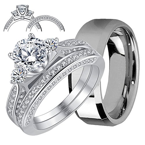 MABELLA His and Hers Wedding Ring Sets 3 Stone Womens Silver CZ Ring Set and Mens Stainless Steel Matching Wedding Band by MABELLA (Image #1)