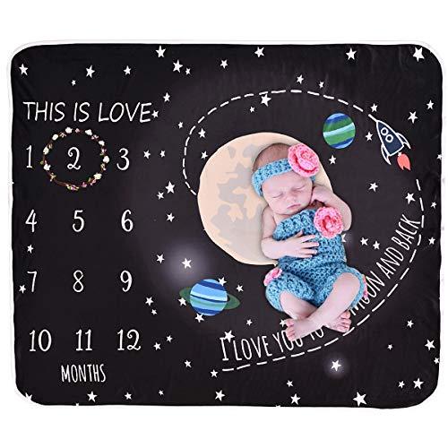 Yinuoday Unisex Baby Monthly Milestone Blanket,Star Universe Fleece Baby Photography Backdrop Memory Blanket,Photo Prop for Newborn Infant Black