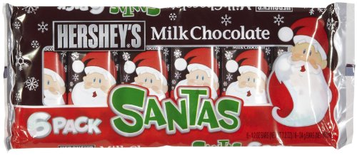 Hershey's Milk Chocolate Santa Bar, 6-Count of 1.2-Ounce bars, 7.2-Ounce Package