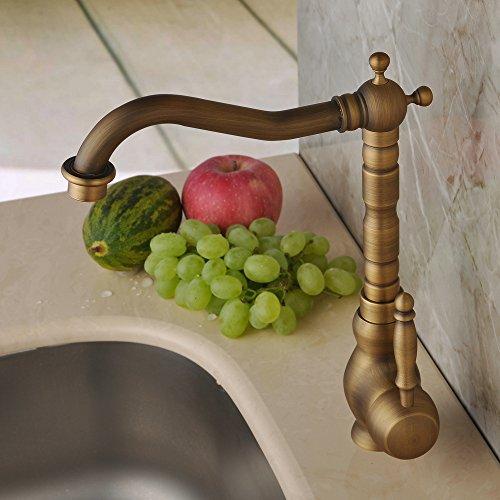 Hiendure Antique Brass Unique Designer Plumbing Fixtures Single Hole Long Curve Spout Kitchen Faucet Bathroom Mixer Taps (Designer Antique Brass)