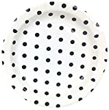 Just Artifacts Round Paper Party Plates 9in (12pcs) - Black Polka Dot - Decorative Tableware for Birthday Parties, Baby Showers, Grad Parties, Weddings, and Life Celebrations!