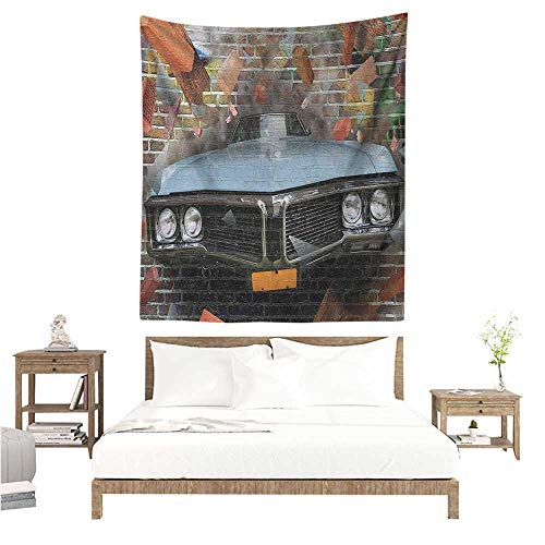 Wall Art Tapestry Cars Graffiti Featured Graphic of Crashing Automobile on A Brick Wall Underground Street Style 70W x 84L INCH Suitable for Bedroom Living Room Dormitory