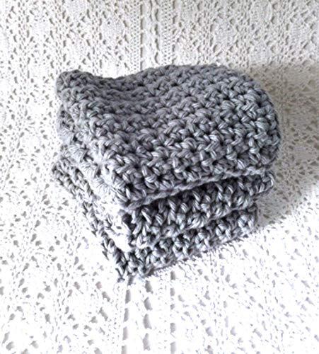 Handmade Dish Cloths Pewter Grey Gray Wash Cloths Crochet Cotton Kitchen Dishcloths Set of 3