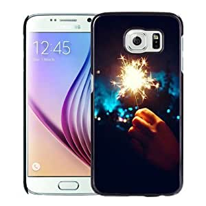 NEW Unique Custom Designed Samsung Galaxy S6 Phone Case With Happy New Year Fireworks Hand_Black Phone Case