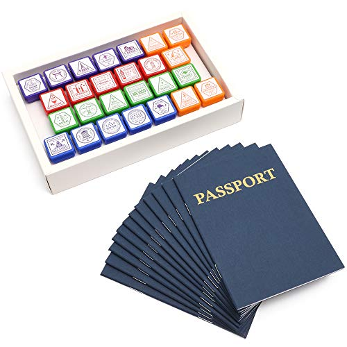 Bright Creations Passport Books with Stamps for Boys and Girls (12 Pack)