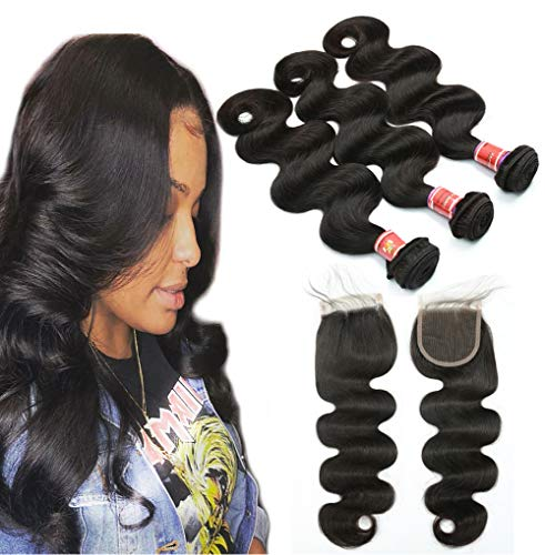 - Great Grace Brazilian Body Wave Human Hair 3 Bundles with Lace Closure 8A 100% Unprocessed Brazilian Hair Weave With Closure Virgin Body Wave Bundle Natural Color (24 26 28+20)