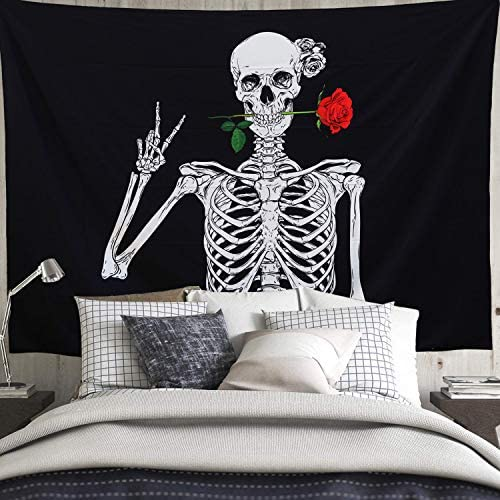 Skull Tapestry Black Funny Skeleton Tapestry with Red Rose Wall Tapestry for Bedroom, Black and White Wall Art Decor, 80 X60