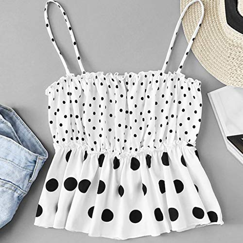 Fashion Women Cold Shoulder Ruched Sleeveless Polka Dots Casual Vest Tank Camis