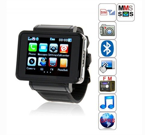 K1 Watch Phone Mobile with Quad Band+camera+bluetooth+fm Radio+mp3/mp4 Player+e-book+wap