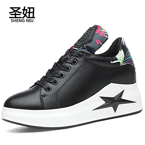 KPHY Dentro Harold Casuales black Frenillo Viento Bordados Primavera Estudiantes Zapatos Hembra Zapatos De Solo Aumentar rqpr4wBX