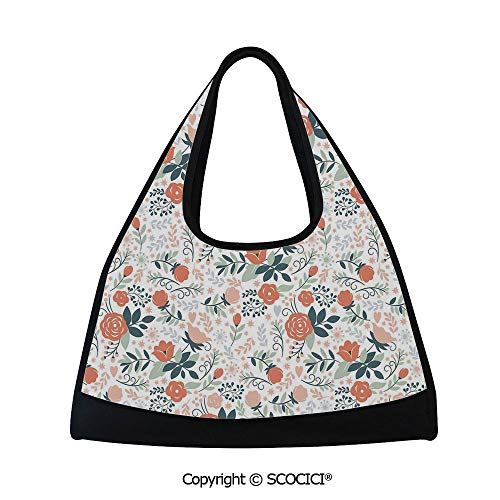 (Short distance travel bag,Shabby Blooms Nature Inspired Stylish Botanical Beauty Illustration Decorative,Multi Functional Bag (18.5x6.7x20 in) Salmon Peach Almond Green)