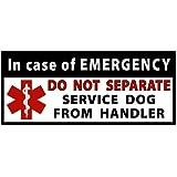 DO NOT SEPARATE Service Dog Handler Medical Alert Symbol Window or Bumper Sticker