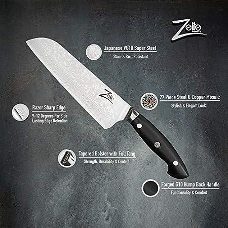 Zelite Infinity Cuchillos Cocina Santoku 18cm - Serie Executive-Plus - Cuchillos Cocina Profe-sional Acero Japonés Damasco 67 Capas VG10 - Cuchillos Japoneses Cuchilla de 53mm - Funda de Cuero