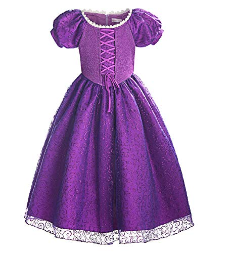 ReliBeauty Girls Princess Tangled Rapunzel Lace up Dress Costume, 10-12/150 Purple ()