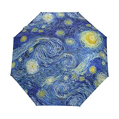 WOZO Starry Night Star Galaxy 3 Folds Auto Open Close Umbrella