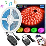 RGB LED Strip Lights Sync to Music by APP Control, MINGER 16.4Ft/5M LED Light Strip Waterproof Flexible 5050 RGB Rope Light, 12V Strip Lighting for Bedroom Dormroom Christmas Party, DC UL Listed