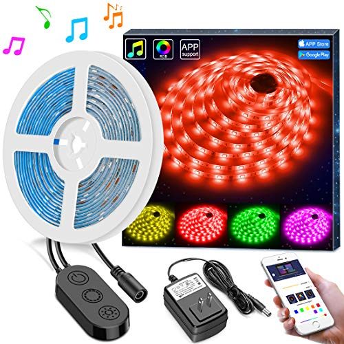 RGB LED Strip Lights Sync to Music by APP Control, MINGER 16.4Ft/5M LED Light Strip Waterproof Flexible 5050 RGB Rope Light, 12V Strip Lighting for Bedroom Dormroom Christmas Party, DC UL Listed for $<!--$25.99-->