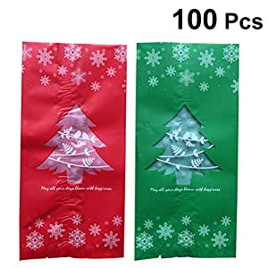 Vosarea 100 pcs Bag Dull Polish Christmas Tree Patterns Candy Chocolate Gift Treat Bags Xmas Holiday Party Favor (Red Green)