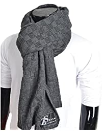 Mens Thick Knitted Plaid Long Winter Scarf Shawl E5031