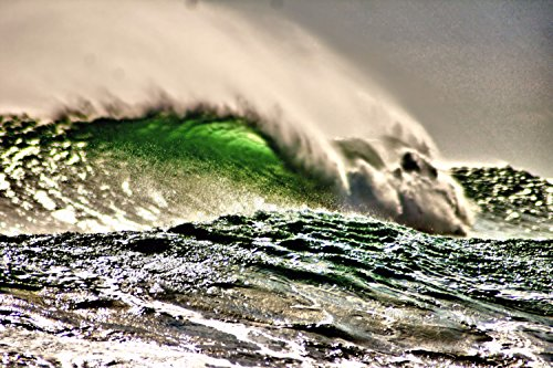 Emerald Wave Art-Wave Art/Surf Art~This Amazing Photo is from an enormous swell on the Outer Banks of NC-Various Sizes Available-Magnificent Artwork for your wall! 8 X 10 plus other sizes below! (Hatteras Cape Surf)