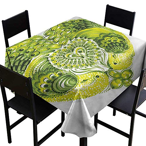 SKDSArts Personalized Tablecloths Boho,Heart Shaped Peacock Feathers,W50 x L50 Square Tablecloth ()
