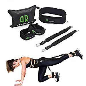 Booty Fitness Band Set - Booty Belt for Glutes Muscle Workout - Perfect Band to Lift Your Butt - Including Waist Belt, Two Resistance Bands, Two Ankle Straps, an E-Book and A Carry Bag. (Black)