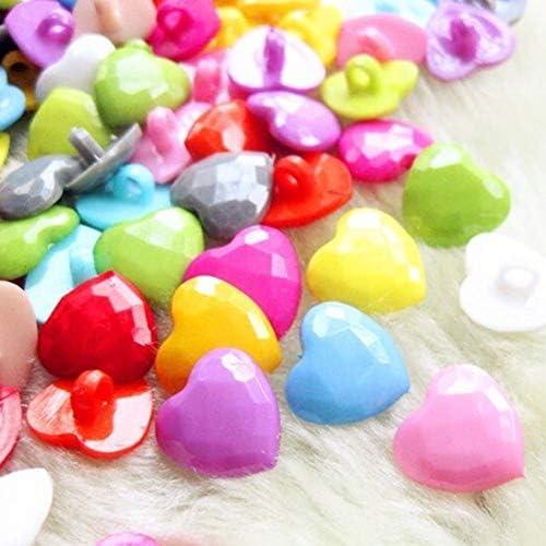 Yitang 50PCS 14ミリメートルミックス色シャンクハートプラスチックボタンDIY工芸子供服衣服裁縫アクセサリーかぎ針編み、スクラップブッキング、カードメイキング、装飾的なファブリック、装飾