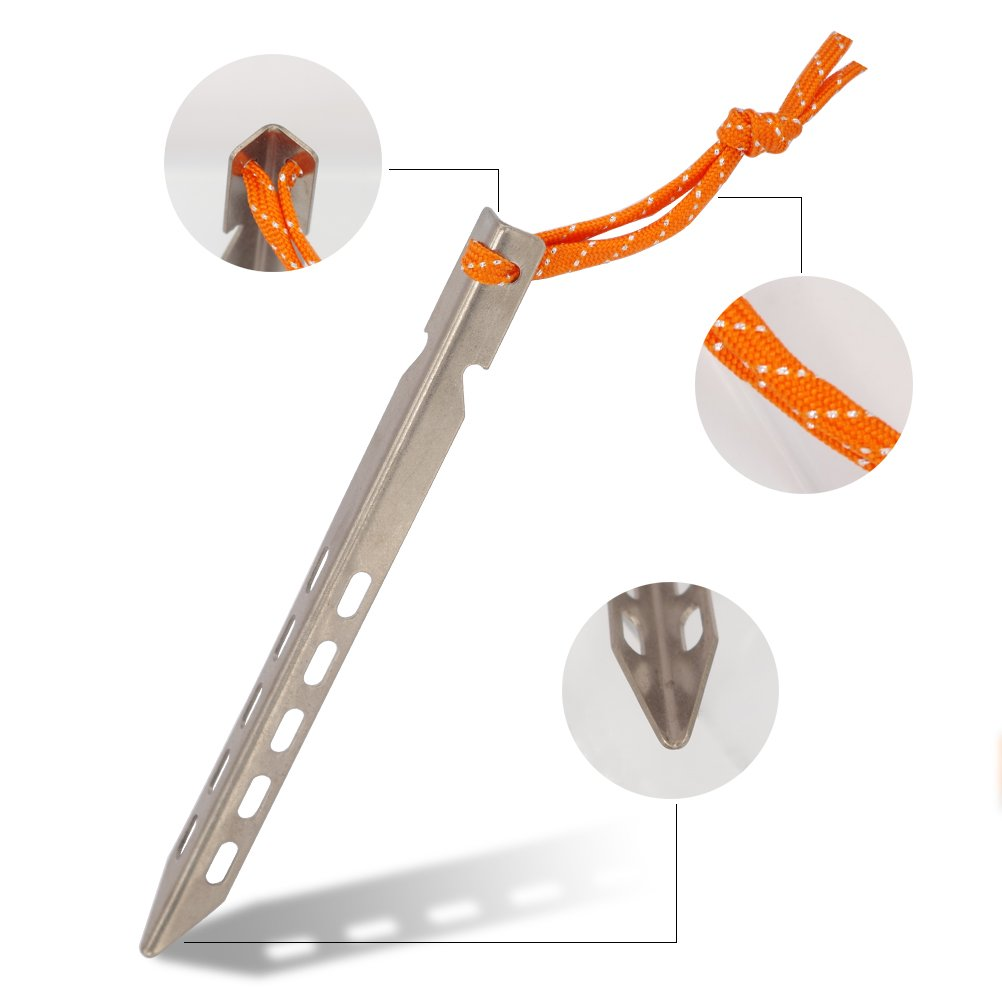 Pack of 6 Hikemax Ultralight Titanium Tent Stakes V-shaped Tent Pegs with Reflective Pull Cords /& Pouch