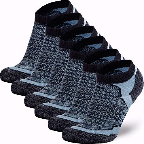 Low-Show Wool Running Socks - Cushioned Merino Wool Athletic Socks for Men and Women, Moisture Wicking (6 Pack - Black/Grey, Large) (Wool Socks Thin)