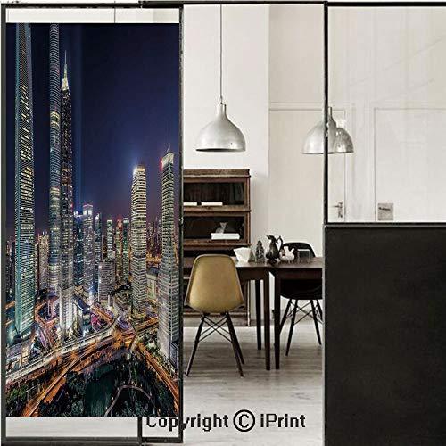 (Urban 3D Decorative Film Privacy Window Film No Glue,Frosted Film Decorative,Skyline Illuminated Skyscrapers in Modern City at Night Architectural Cityscape Photo,for Home&Office,17.7x59Inch Multicolo)
