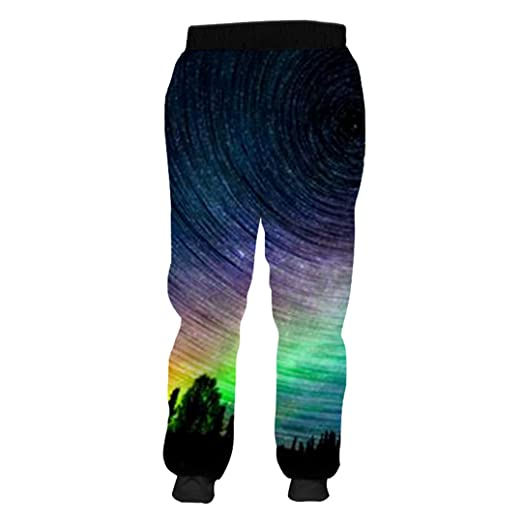 Man Large Size Rainbow Sweatpants Pants 3D Printed Starry ...