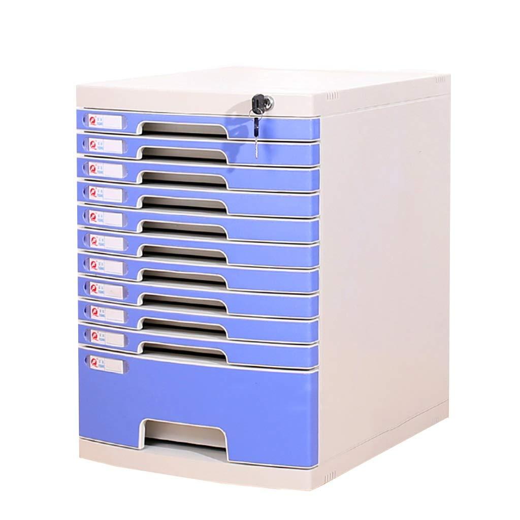 ファイルキャビネットプラスチックデスクトップロッカーファイルボックス11層ロック付き引き出しタイプ青 B07MKR9Q3G